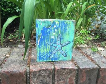 Original Painting Seascape Art Block A Study in Starfish Beach House Decor by CastawaysHall