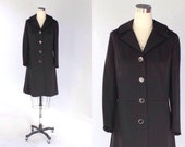 SALE // 1960s Black Double Knit Coat // 60s Vintage Single Breasted Knee Length Coat // Medium - Large