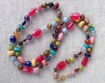 Long Mixed Genstone Necklace