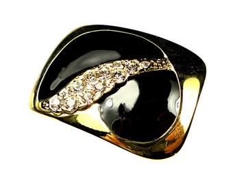 Belt buckles, black vintage enamel gold tone metal