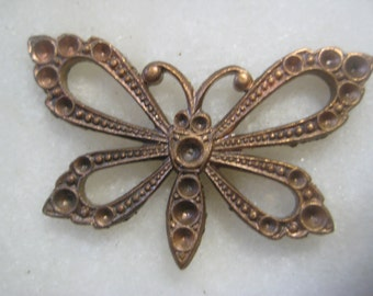 Vintage Butterfly Finding; Ornate Open Work Die Struck Brass Finding, Stone Setting Spaces, Natural Patina, 35mm by 20mm, 1 pc