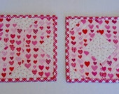 Valentine Mug Rugs, Quilted Mug Rugs, Snack Mat, Mini Quilt, Small Placemat, X and O, Scattered Hearts, Cottage Chic