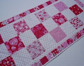 Valentine Table Runner, Quilted Table Runner, Table Topper, Dresser Scarf, Hugs and Kisses by Studio E Fabrics