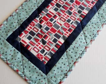 Nautical Quilted Table Runner, Boating Quilted Table Topper, Table Quilt, Beach House, Boating, Americana, Flags, Stars, Navy Red Aqua