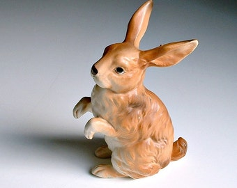 Vintage Lefton Rabbit Figurine Brown 1960s Easter H6664 Spring Woodland Creature