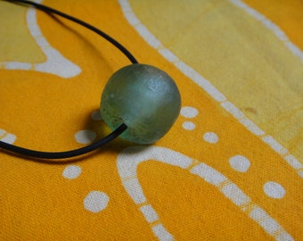 Luminous Green Recycled African Glass Krobo Bead Necklace Gift for Him or Her