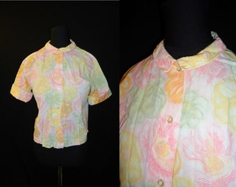 Spring Floral Peter Pan Vintage 1950's Women's Rockabilly Blouse Shirt M
