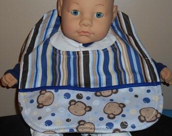 Baby Bib - Monkeys and Stripes - Pocket - Jungle