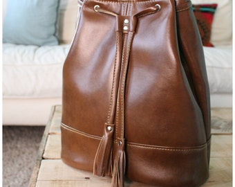 Drawstring Bonnie bag - Bonnie bucket bag - brown recycled leather bag - leather handbag