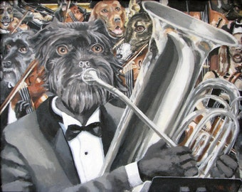 Orchestra Dogs Pet Portrait Painting Fine Art