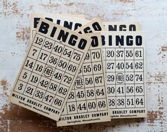 Vintage bingo cards, bingo cards, vintage art supply