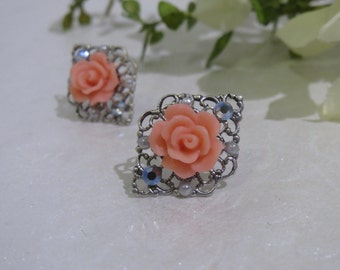 Embellished Antique Silver Filigree Rose Studs with Surgical Steel Posts in Coral Pink