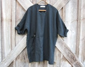 linen tunic dress caftan in black ready to ship