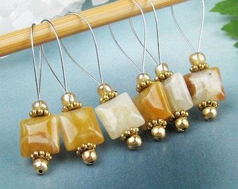 Knitting Stitch Markers, Yellow Jasper, Semi-Precious Stones, Golden Yellow , Snag Free, Jeweled Tool, Knitting Accessory, Handmade, Gift