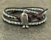 Boho Penguin Jewelry Silver  Turquoise Penguin Bracelet