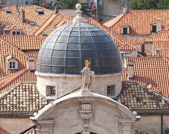 Dubrovnik Croatia Photography - Church Dome Photo - European Architecture Print - Rooftop Photograph - Travel Photography - 8x10 11x14 16x20