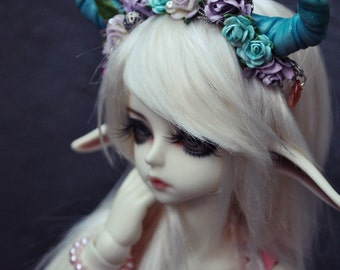BJD girl or boy horns headband blue devil horns flower crown fits msd and SD. Can be made to fit other measurements.