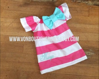 Monogrammed hot pink White Stripe mint Short Sleeve Dress Embroidery Bow newborn 0-3 3-6 6-9 9-12 Month 12 Month 18 Month 2t 3t 4t 5t 6
