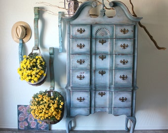 Beautiful Farmhouse Dresser in Shades of Blue / Chest / Armoire / Rustic Modern Painted Distressed Chic