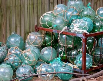 Vintage Glass Fishing Float W/ Netting, Fisherman Marine, Roped Buoy,vintage Costal Nautical Decor,glass Ball Sphere Orb,beach Oranament