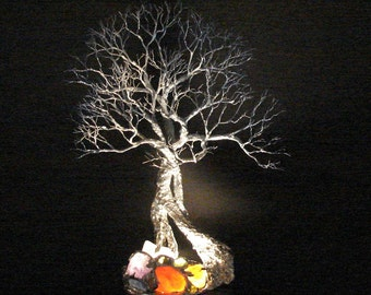 """Wire Tree Of Life, Trio Grove Tree Spirit sculpture, table LED night light, unique original art, gift for her or him, Anniversary gift, 11 """""""
