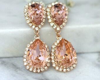 Rose Gold Blush Earrings, Bridal Blush Earrings, Bridal Drop Earrings, Blush Statement earrings, Swarovski Blush Chandelier Earrings.