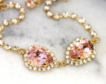 Blush Bracelet, Bridal Blush Swarovski Bracelet, Blush Crystal Gold Bracelet, Bridesmaids Bracelet,Wedding Blush Swarovski Silver Bracelet