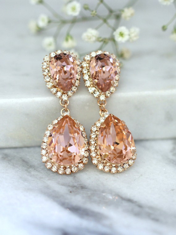 rose gold blush earrings bridal blush earrings bridal drop. Black Bedroom Furniture Sets. Home Design Ideas
