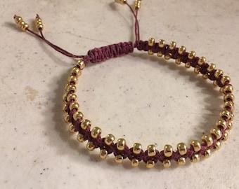 Maroon Bracelet - Gold Seed Beads - Macrame Jewelry - Adjustable Jewellery - Fashion - Trendy - Beaded - Waxed Linen Cord