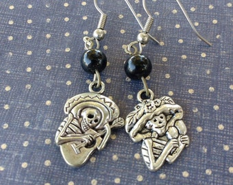 Day of the dead dancing playing music skeletons couple earrings