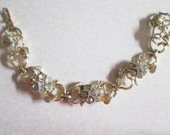 LIGHT yellow gold tone SPARKLY crystal rhinestones CORO floral link bracelet