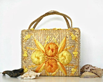 Vintage 1960s Raffia Straw Tote Bag for Beach or Pool Yellow Orange Floral Embroidered Decoration Summer Fashion Vacation Accessories