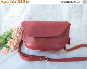 DISCOUNTED Authentic Vintage COACH- Red Leather ----RARE Style Coach --CrossBody--Purse