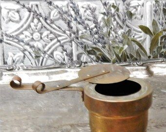 DISCOUNTED PRIMITIVE Antique ~~DOURO~~Solid Brass Handled Pot ~~ Slide Top~~Made In Portugal~~Spittoon~~Teabag Holder