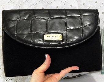 Vintage Italian Leather Clutch~RARE Authentic PETTINATI Handbag~ Black Suede~Leather Lined~Croc Leather Accent