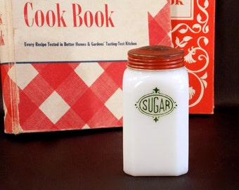 Hazel Atlas, Milk Glass, Range Sugar Shaker, Chef Boy-Ar-Dee Dinner Advertisement, 1940s 50s