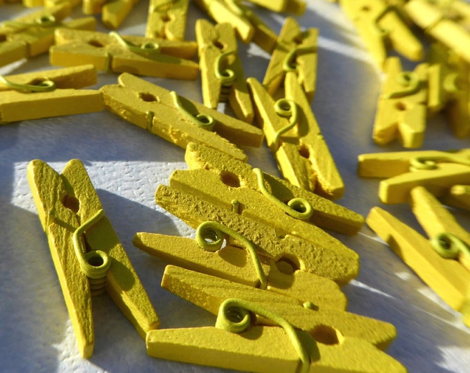 """Mini Clothespins in Yellow - 25 - 1"""" or 2.5 cm - Wooden - Great for Party Favors Baby Shower Favors Scrapbooking and Paper Crafts"""
