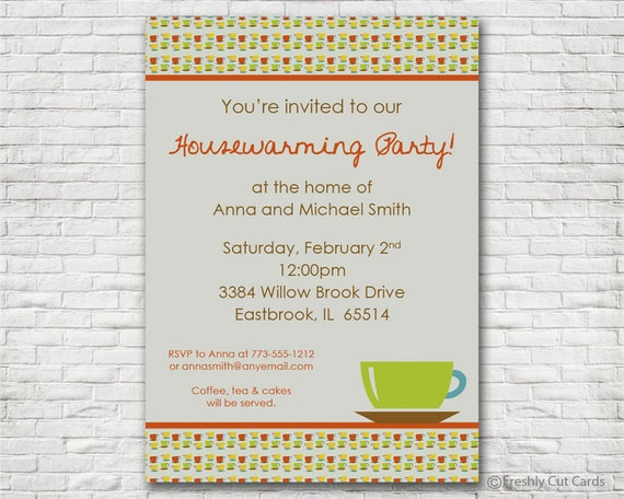 Coffee Cup Housewarming Party - Printable or Printed (w/ FREE Envelopes)