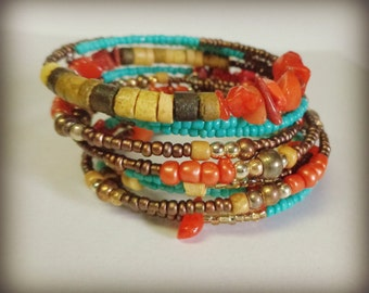 Summertime Bohemian Beach Memory Wire Beaded Bracelets Set Of 3