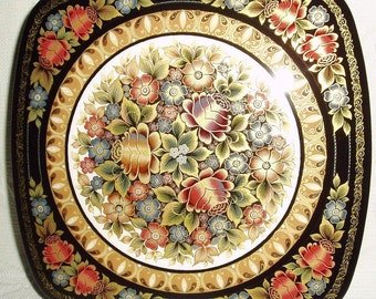 """Russian Lacquer box Mstera floral arrangement """" Roses """" Flowers Hand Painted"""
