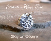 STAY on COURSE, COMPASS or Wind Rose Wax Seal Necklace Pendant Mens Gift,  Mens Jewelry, Jewellery, Gift for Traveler