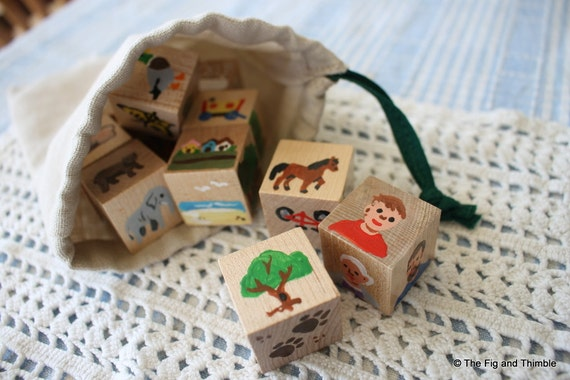 Storytelling Cubes - Handpainted Wood, Colorful Set of Ten