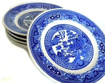 Eight Vintage Blue Willow Bread Dessert Plates