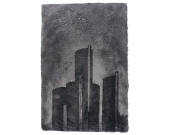 Detroit Before Waking 4: Renaissance Center - Handmade, pigmented abaca with pulp painting (2015), Item No. 188.04