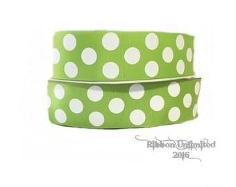 10 Yds WHOLESALE 1.5 Inch Lime Jumbo Polka Dot grosgrain ribbon LOW SHIPPING Cost
