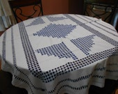 VINTAGE EMBROIDERED TABLECLOTH Open Hand Embroidery in Blue & White Cotton 46 x 68 inch rectangle