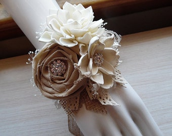 Ships in 5 days ~~~ Corsage, Sola Flowers, Tan Rolled Cotton Roses, Rhinestones, Rustic Country Wedding.