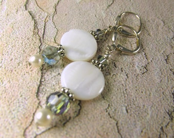 White Mother of Pearl Shell Earrings with Swarovski Black Diamond AB Crystals on Silver Leverback Earring Wires
