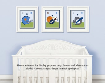 "Set of 3  Unframed ""Little Boy Lil' Sports Player/Soccer/Baseball/Basketball"" 8x10 inchNursery Wall Art Prints Baby Children Kids Decor"