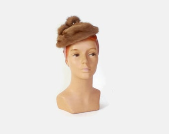 Vintage 60s MINK HAT / 1960s Brown Genuine Fur Bow Topper Hat
